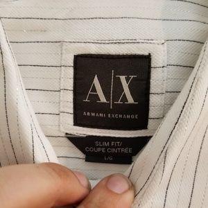 """Armani Exchange White """"Shiny"""" Striped Button Down"""